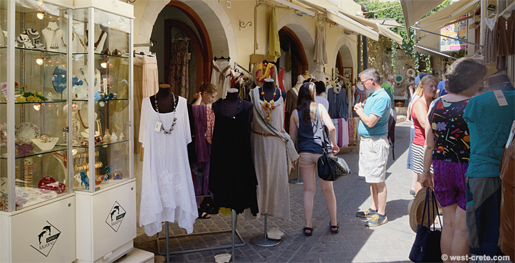Shopping in Zambeliou Street, Chania Old Town